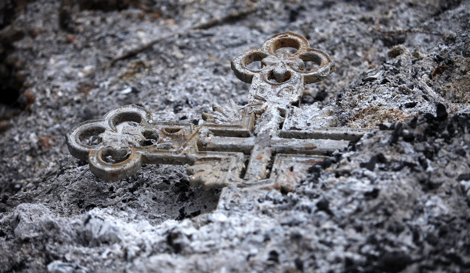 Burned Cross in Church