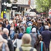 Crowded Sidewalk