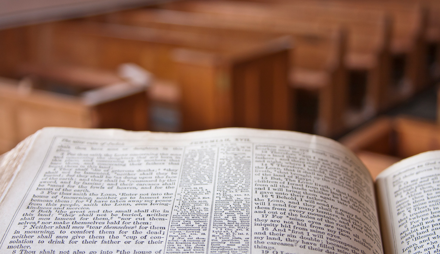 Bible on Pulpit Overlooking Church
